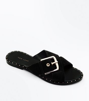 Black Suede Cross Strap Studded Sliders