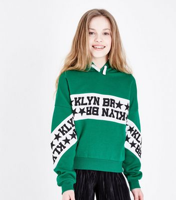 Teens Green Brooklyn Stripe Front Hoodie