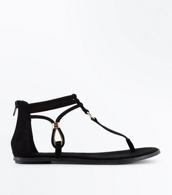 Black Suedette Ankle Strap Flat Sandals