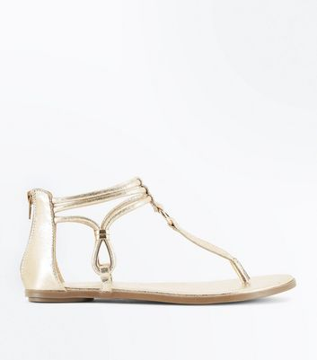 Gold Metallic Ankle Strap Flat Sandals
