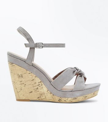 Grey Suedette Knot Strap Cork Wedges
