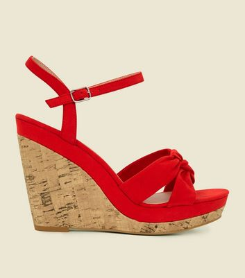 Red Suedette Knot Strap Cork Wedges