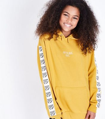 Girls Mustard NYC Fifth Ave Slogan Hoodie
