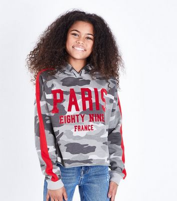 Girls Green Camo Paris Flock Print Hoodie