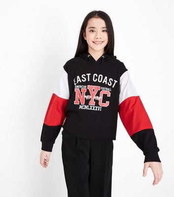 Girls Black Colour Block Sleeve Printed Hoodie