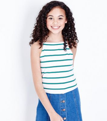 Teens White Stripe High Neck Cami Top by New Look