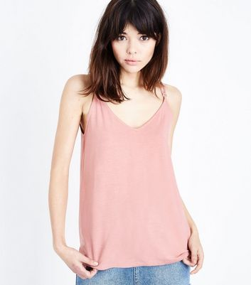 Deep Pink Ring Detail Cross Strap Cami by New Look