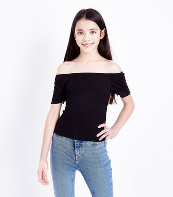 Teens Black Shirred Bardot Neck Short Sleeve Top