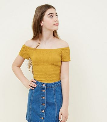 Teens Yellow Shirred Bardot Neck Short Sleeve Top