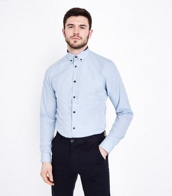 Pale Blue Double Collar Poplin Shirt
