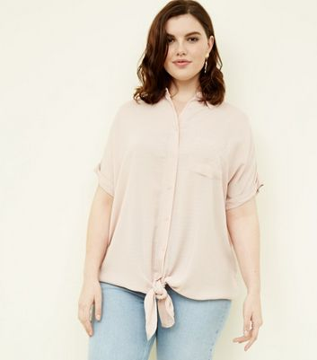 Curves Pale Pink Woven Tie Front Shirt