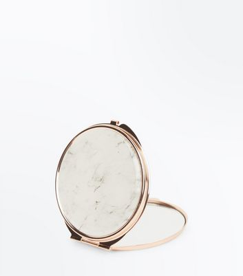 White Marble Compact Mirror