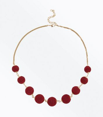 Burgundy Textured Orb Necklace