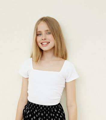 Teens White Square Neck Top by New Look