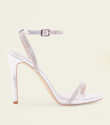 Silver Diamante Strap Stiletto Wedding Shoes