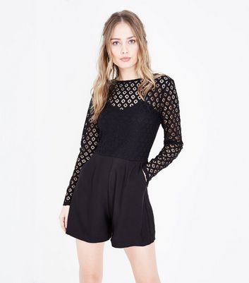 Black Crochet Long Sleeve Playsuit
