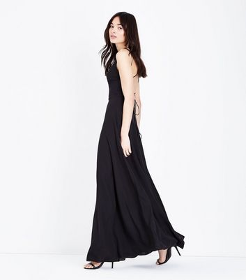 Black Lace Up Back Maxi Dress