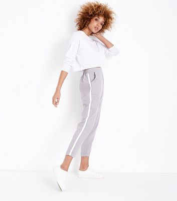 Grey Side Stripe Tapered Trousers