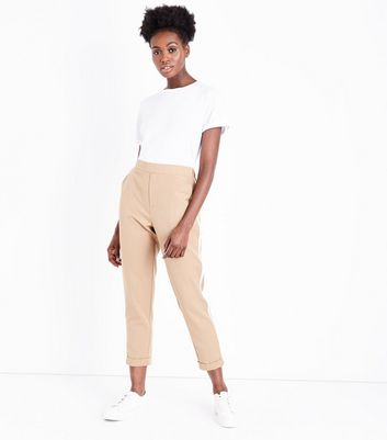 Camel Side Stripe Tapered Trousers