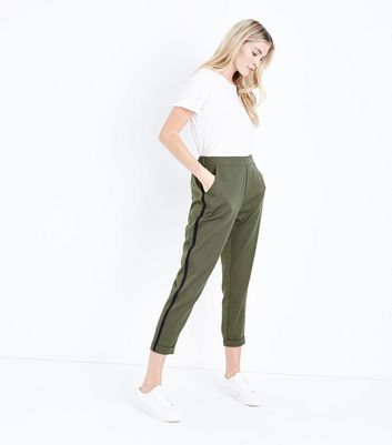 Khaki Side Stripe Tapered Trousers