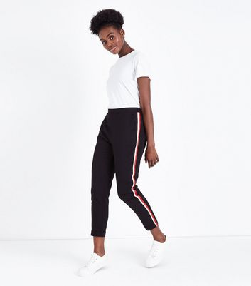 Black and Red Side Stripe Tapered Trousers