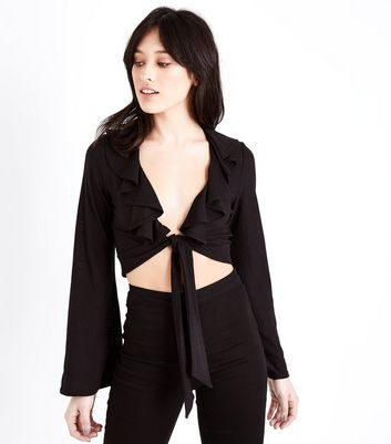Black Crepe Frill Trim Tie Front Crop Top