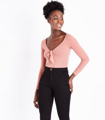 Pink Ribbed Tie Front Bodysuit
