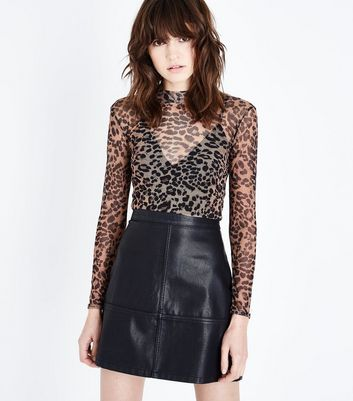 Brown Leopard Print Mesh Top