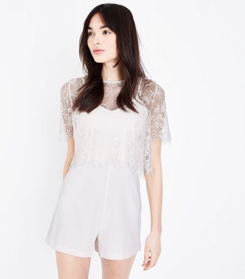 Off White Lace Overlay Playsuit