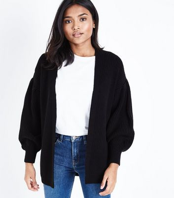 Petite Black Balloon Sleeve Cardigan