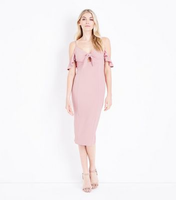 Pale Pink Cold Shoulder Tie Front Midi Dress by New Look
