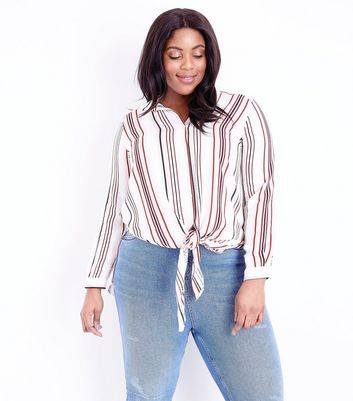 Curves Off White Stripe Tie Front Shirt