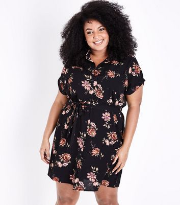 Curves Black Floral Print Belted Shirt Dress