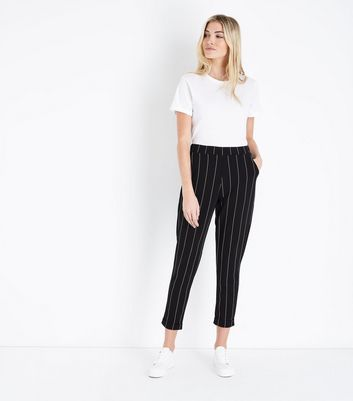 Black Stripe Tapered Trousers
