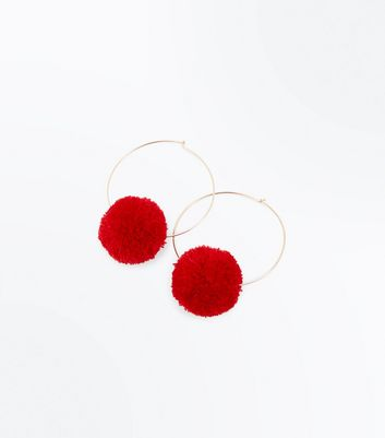 Red Pom Pom Hoop Earrings