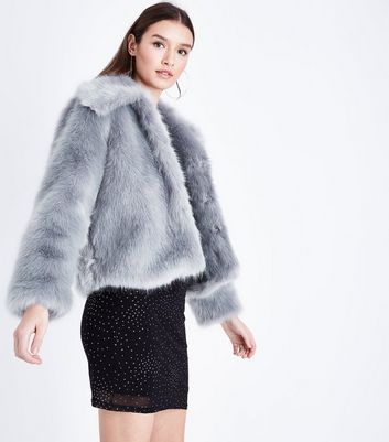 Cameo Rose Grey Collared Faux Fur Jacket