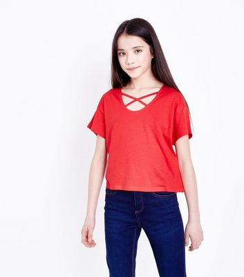 Teens Red Lattice Front T-Shirt