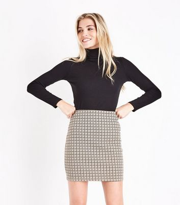 Stone Houndstooth Jersey Mini Skirt