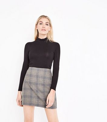 Grey Brushed Check Mini Skirt