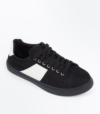 Teens Black Suedette Contrast Panel Trainers