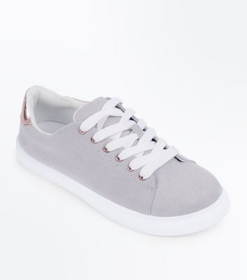 Teens Grey Suedette Metallic Panel Trainers