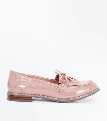 Girls Pink Patent Bow Front Loafers