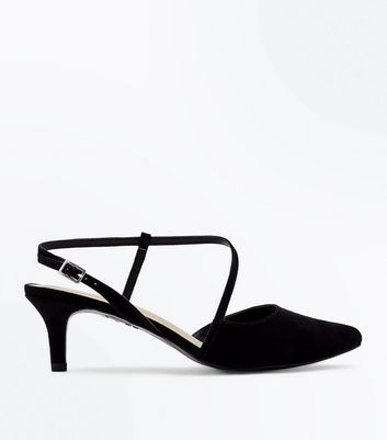 Wide Fit Black Comfort Flex Asymmetric Strap Heels