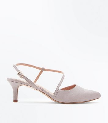 Wide Fit Grey Comfort Flex Asymmetric Strap Heels