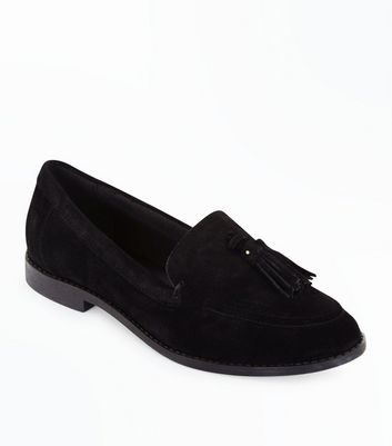 Teens Black Suede Tassel Trim Loafers