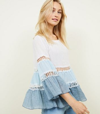 Blue Vanilla Blue Tiered Sleeve Crochet Trim Top by New Look