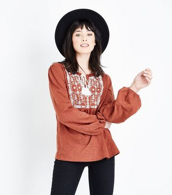 Rust Embroidered Front Balloon Sleeve Top