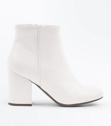 Cream Block Heel Ankle Boots