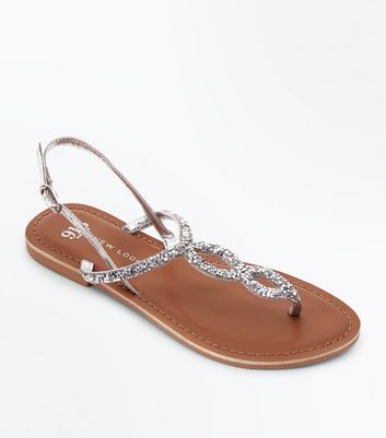 Sliver Crystal Embellished Strap Toe Post Leather Sandals