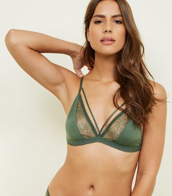 Khaki Floral Mesh Embroidered Strappy Bralette